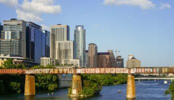 Austin downtown bridge and lake