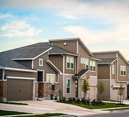 Modern designed architecture in new development real estate homes and houses in Austin , Texas , USA brand new community in north Austin with a record number of people moving to Austin