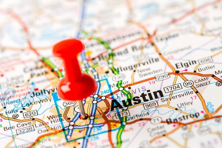 US capital cities on map series: Austin, TX